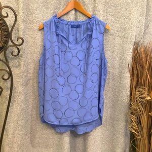 Blue Print Sleeveless Blouse